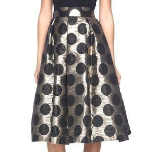 Ronni Nicole Gold Black Polka Dot High-Waist Skirt